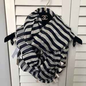 J. Crew Navy and White Striped Silk Infinity Scarf